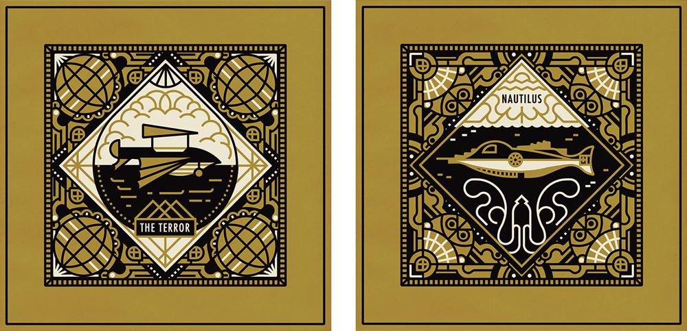 jules verne voyage journey Stories ship lighthouse border decorative train submarine book volcano vector logo Icon