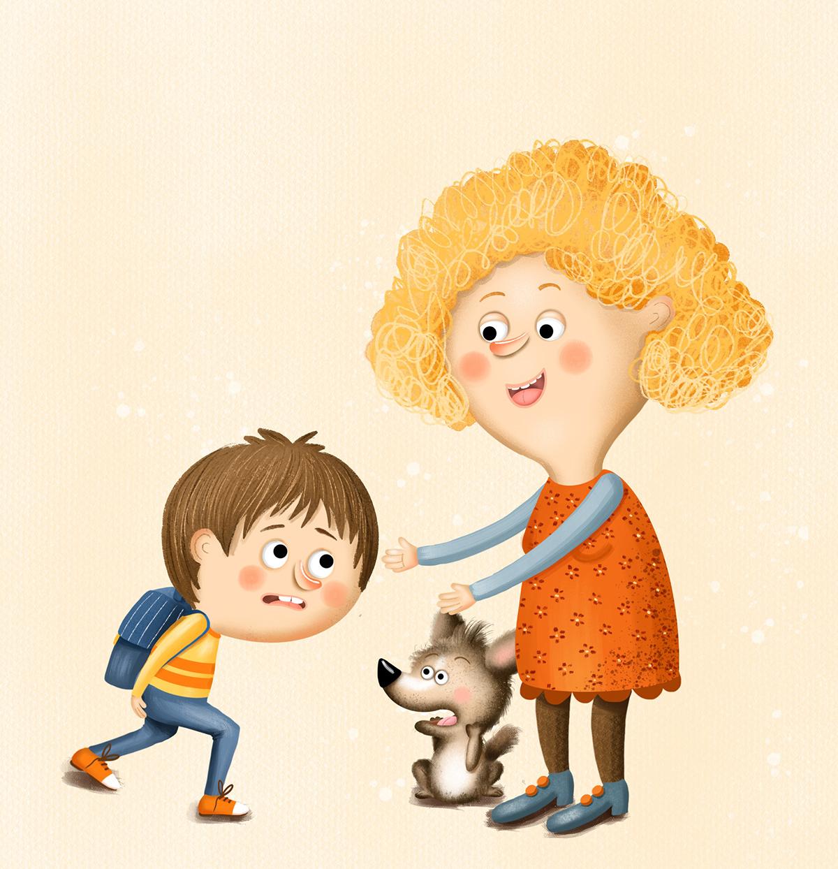 boy children childrenbook ChildrenIllustration digitalart dog Education mother school