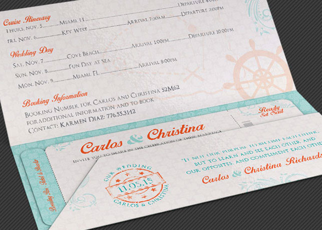 wedding cruise boarding pass invitation template on behance