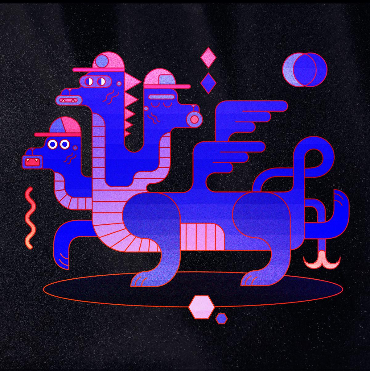 cerberus Griffin geometric geometry dog cap Wiggle 3 headed red blue