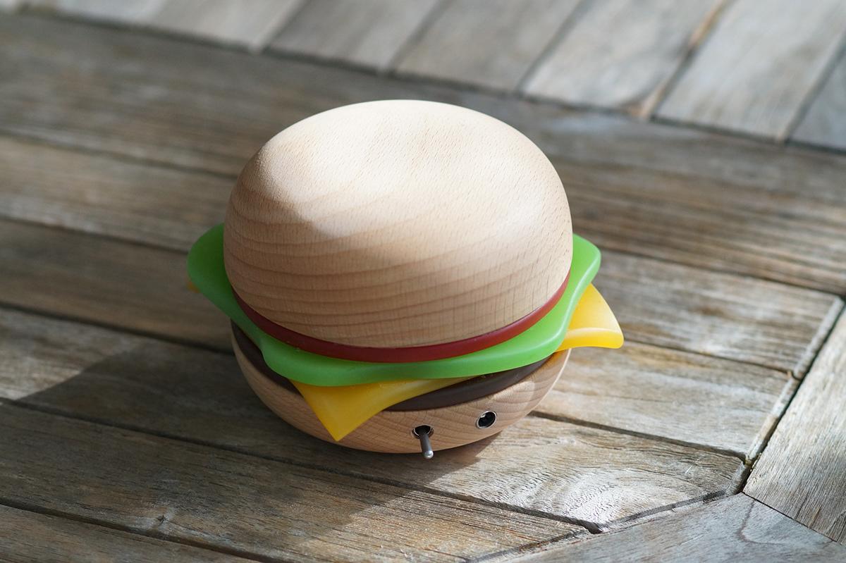 hamburger light design Lamp lampe led wood bois resine resin