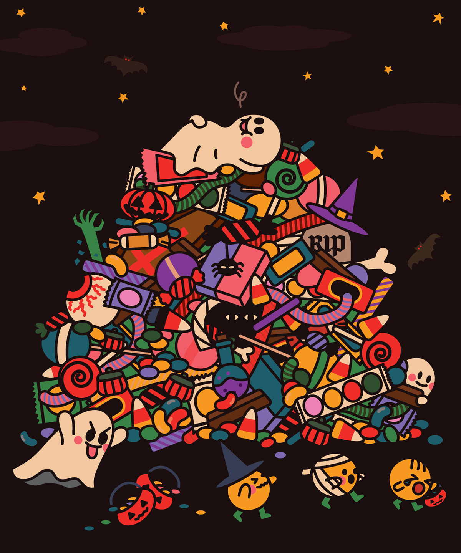 Image may contain: cartoon, christmas tree and illustration