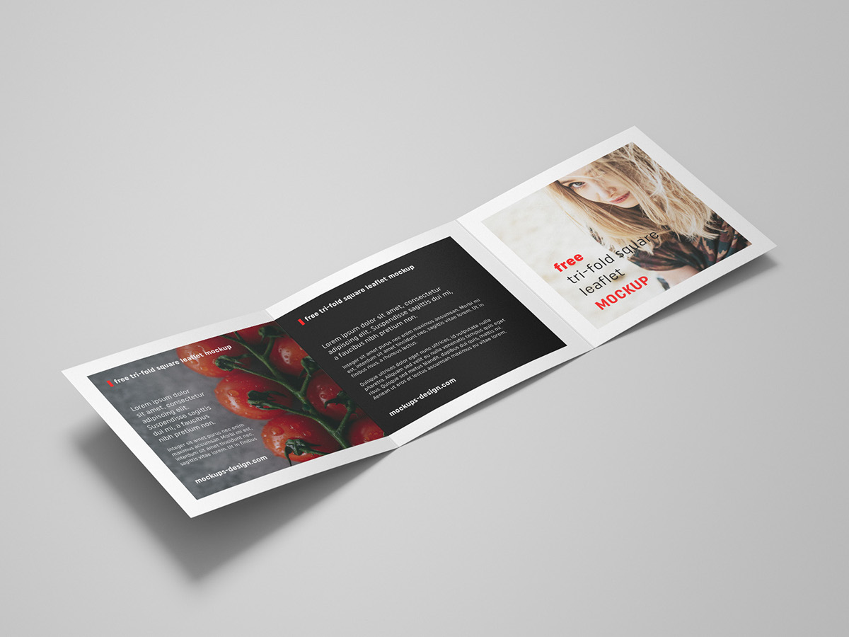 free trifold square leaflet mockup on behance