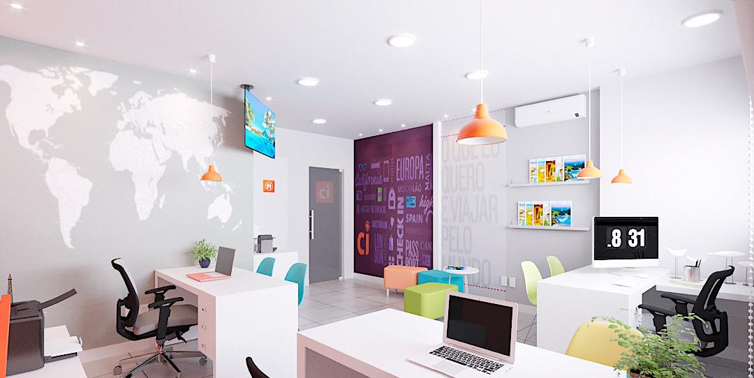 arquitetura de interiores CI Cores design franquia projeto comercial projeto online