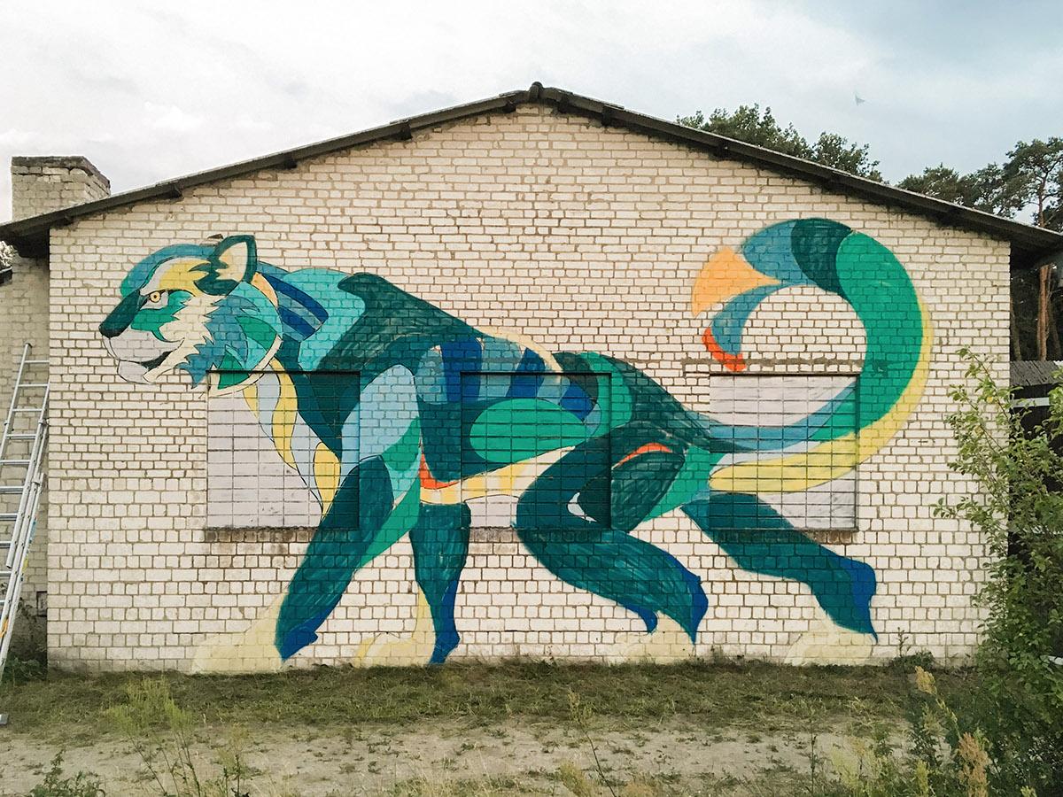 Adobe Portfolio Mural Cat lynx leopard snowleopard streetart Urbanart Goa Nature