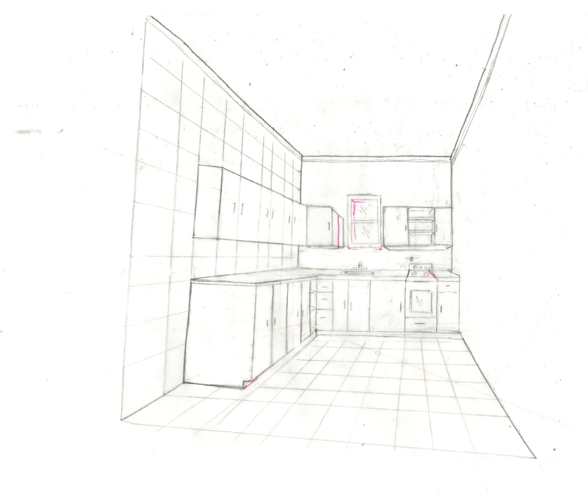 This is a one point perspective without a plan featuring a l shaped kitchen the pink ink is a correction to show depth in future work