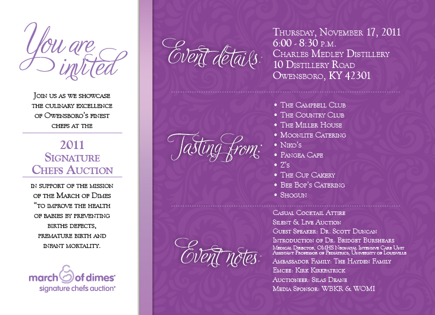 march of dimes signature chefs auction invitation on behance