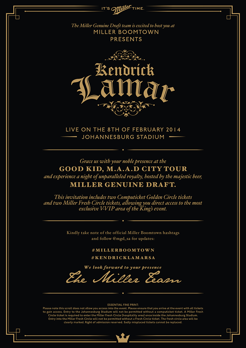 Miller genuine draft kendrick lamar sa tour on behance special guests were hosted at millers fresh circle providing them with the freshest most exclusive concert experience of course the invitation they stopboris Choice Image