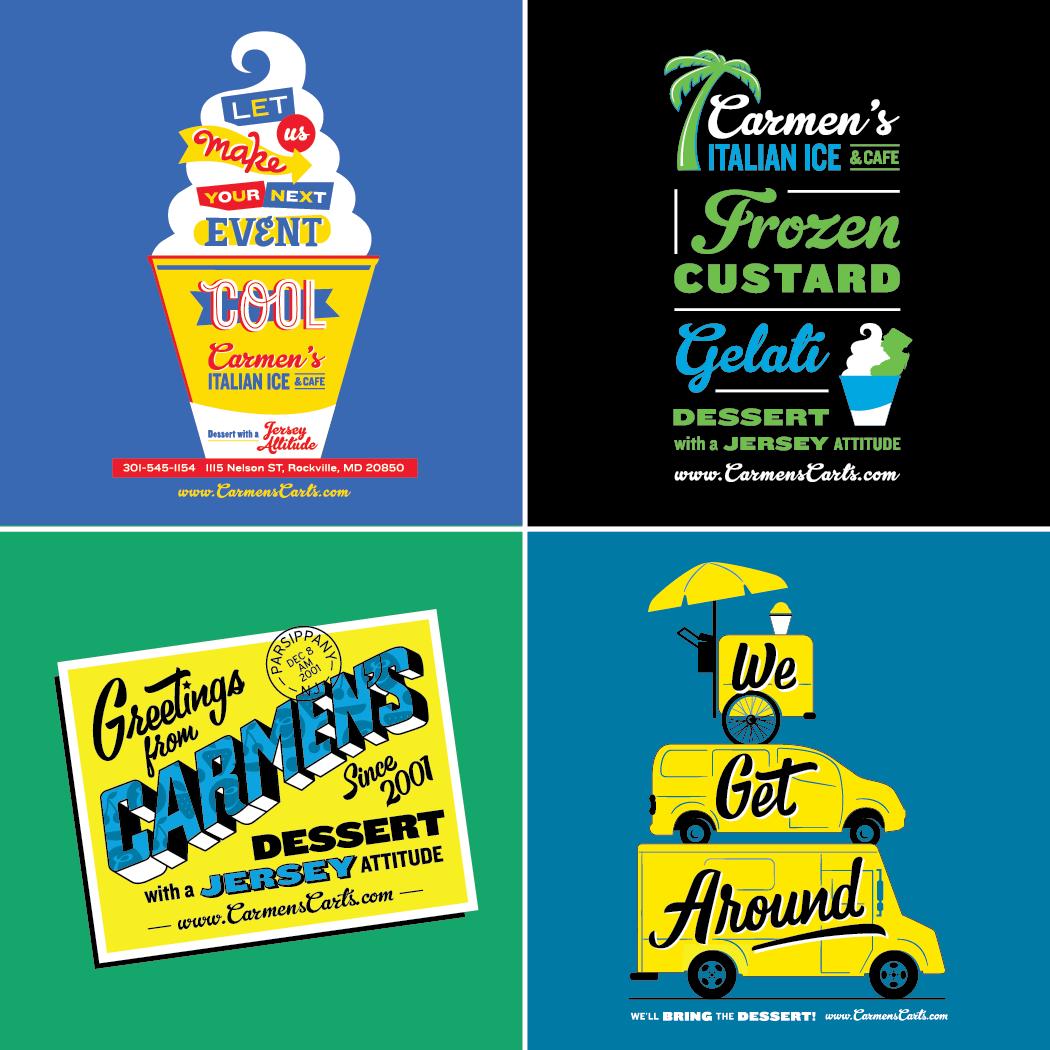 Carmens Italian Ice and Cafe, T-shirt Design, Restaurant Branding, Rockville, MD