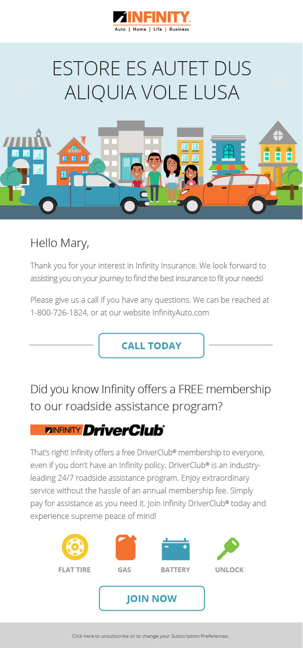 car insurance email templates  EMAIL: Infinity Insurance on Behance