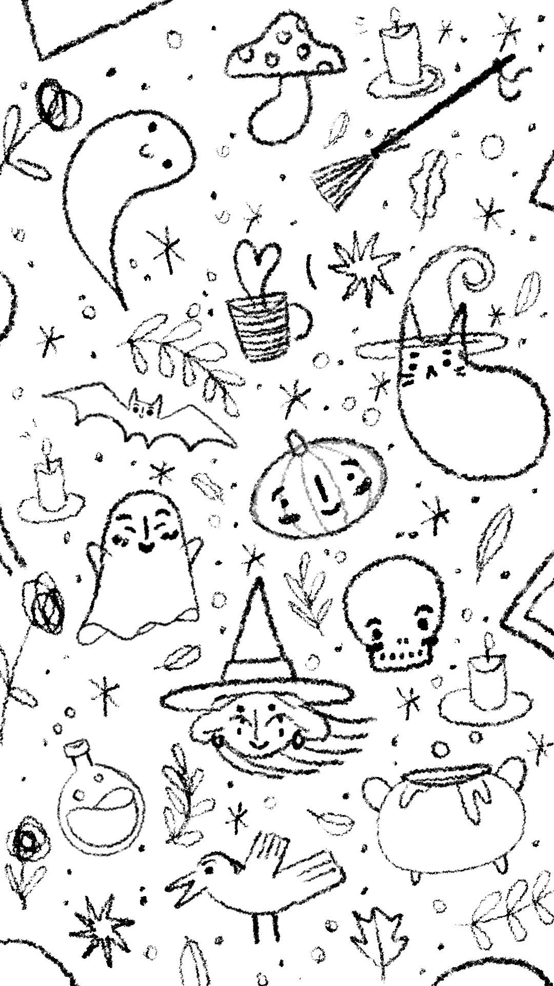 fond d'écran graphic design  graphisme Halloween ILLUSTRATION  mise en page wallpaper