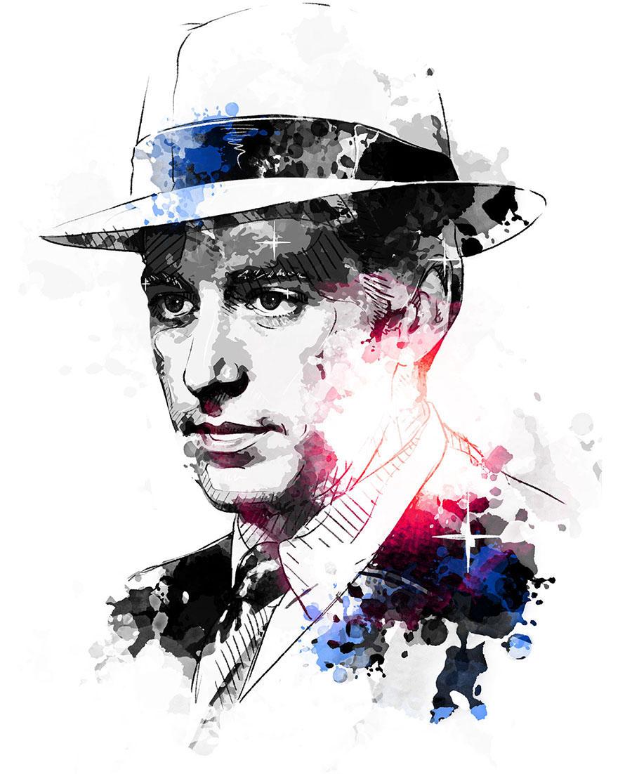 digital wacom photoshop portrait Portraiture face movie actor hollywood watercolor ink actress star Celebrity watercolour
