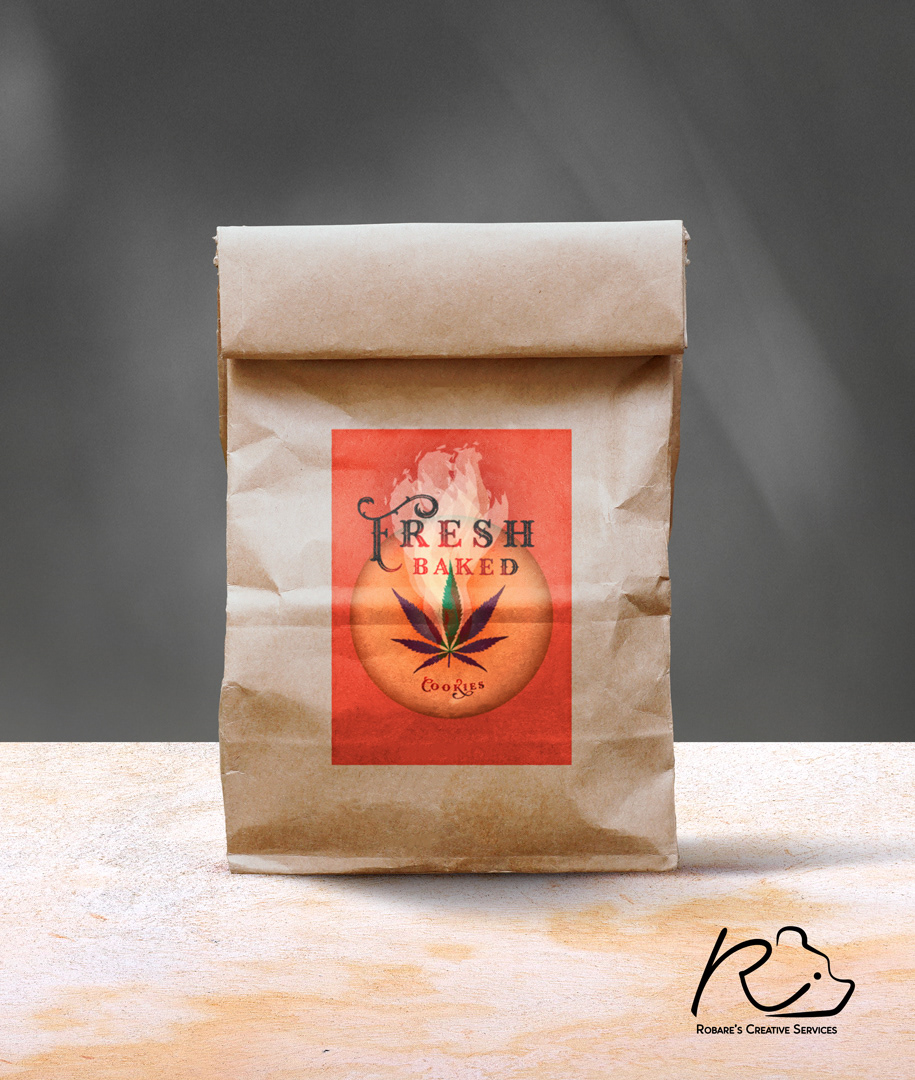 Label design concept for cannabis cookie packaging