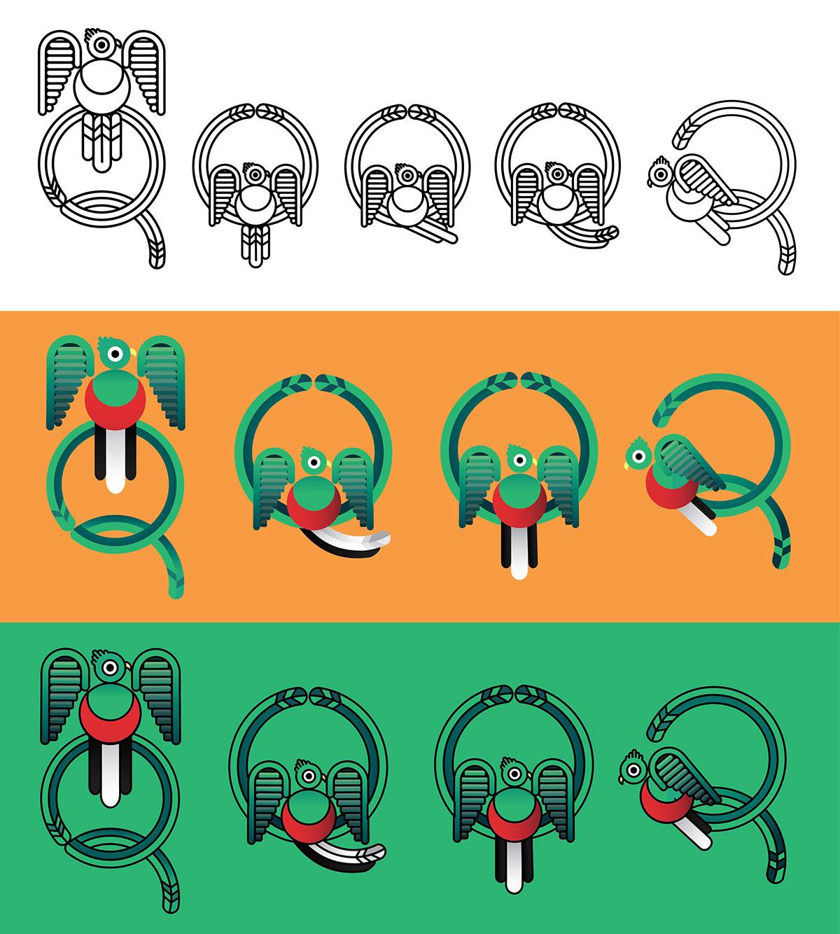 Character Design University Canada : Quetzal logo on behance