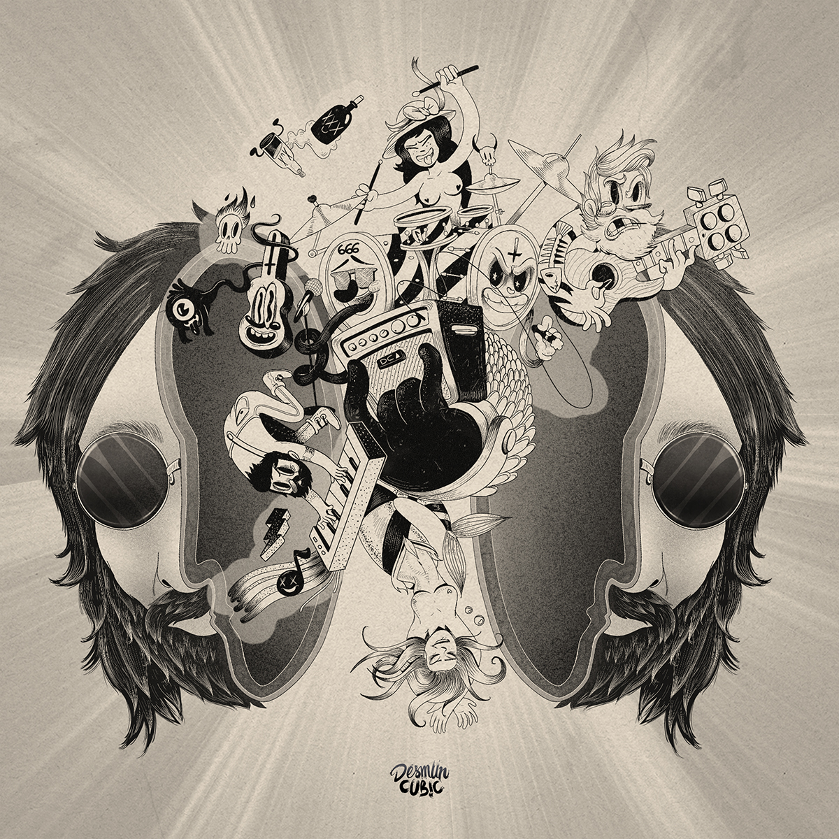 mcbess ugo gattoni old cartooon Classic disney Fleischer Studios black and white music rock Absolut vodka