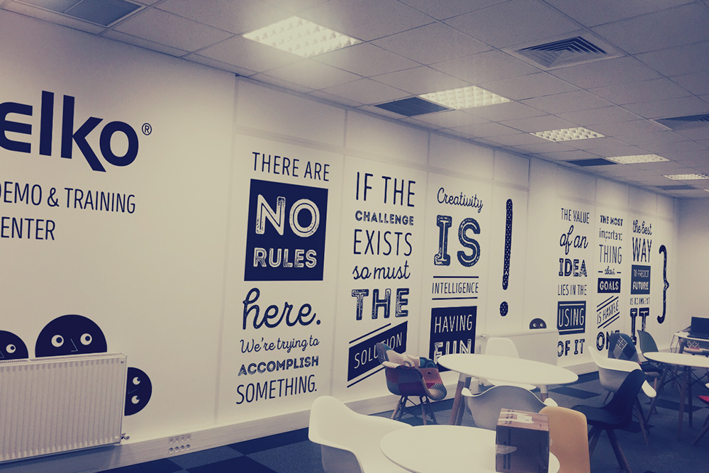 wall design Mural typography   font Office interior design