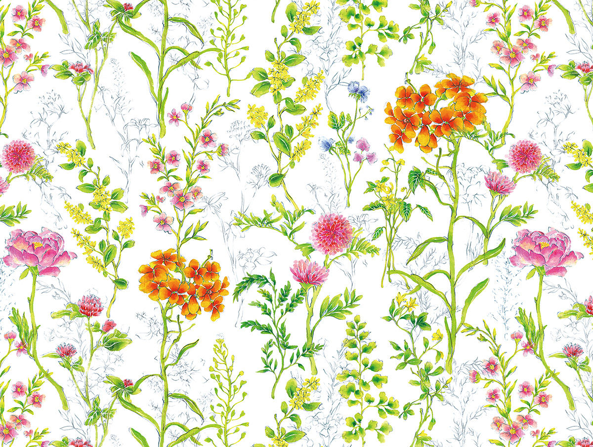 Drawing  graphic design  ILLUSTRATION  pattern design  textile design  water color floral pattern flower pattern