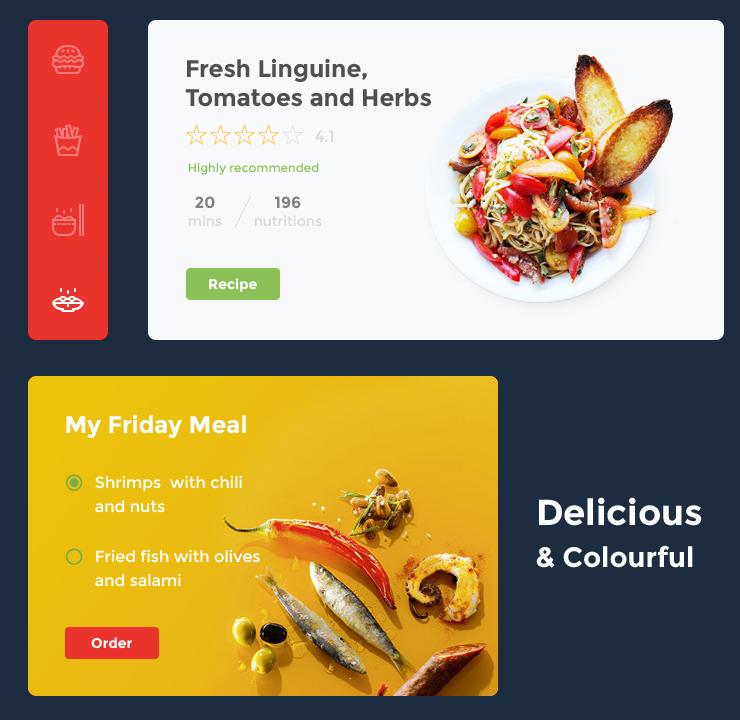 Food  drink UI kit ux template design Webdesign freebie psd download free sketch