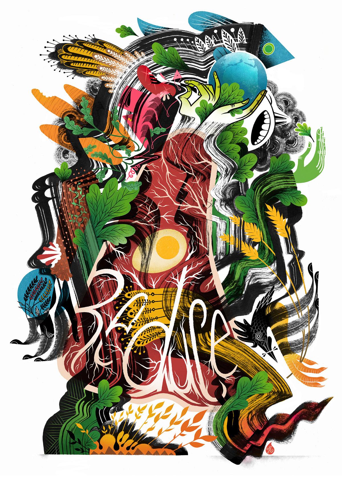 abstractart,book cover,contemporary,diet,digitalart,Health,ILLUSTRATION ,ink,nutrition,poster