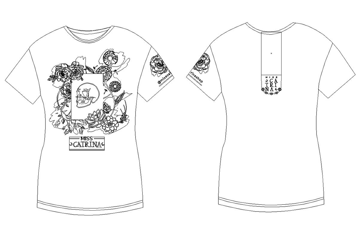 tshirt playera skull diseño design catrina tijuana mexico miss shirt