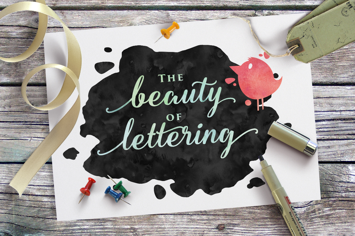 Hand Lettered hand drawing Opentype alternative alternate watercolor brush pen lettering wedding invitation