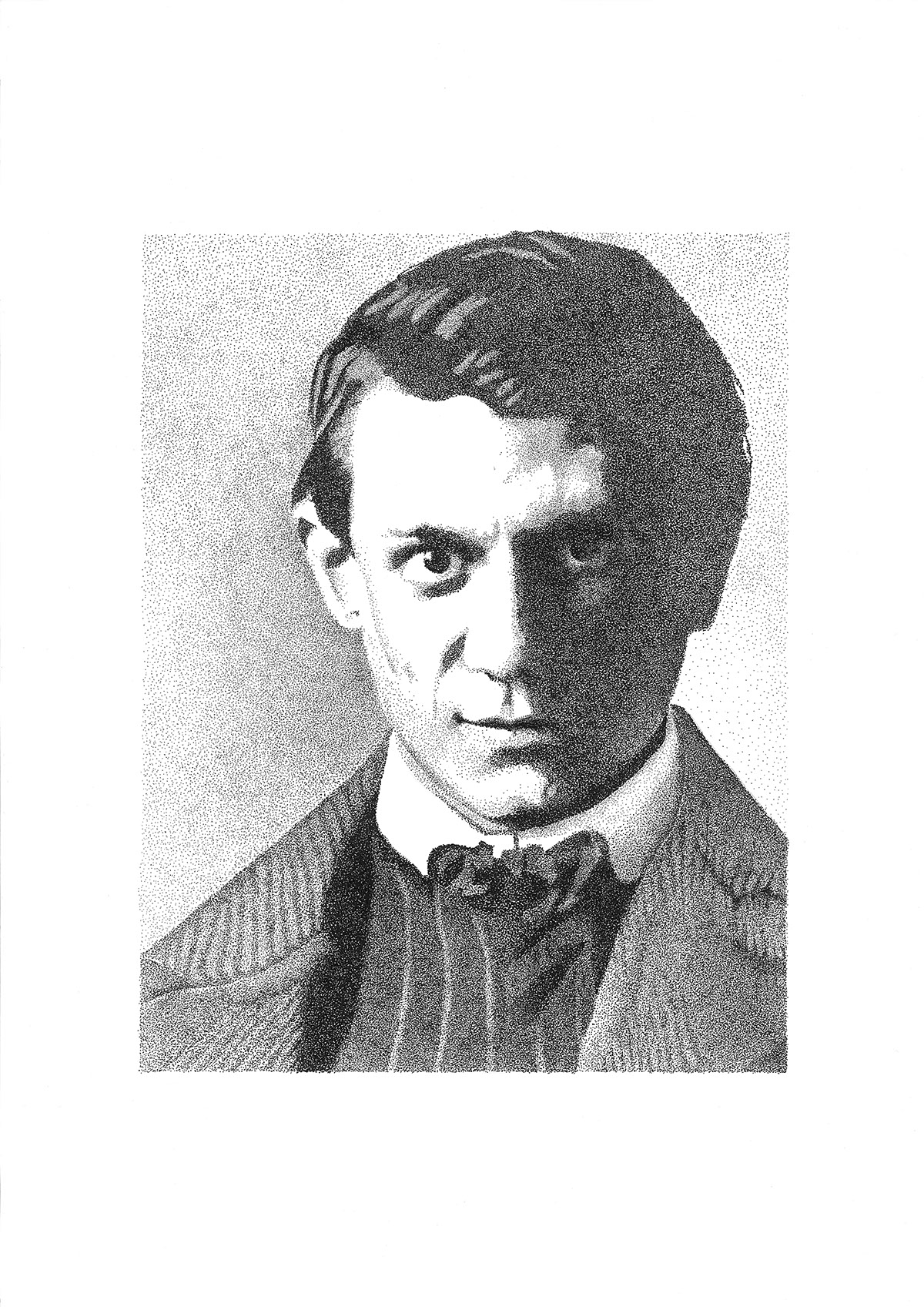 dotwork pointillismus stippling portrait black & white Picasso