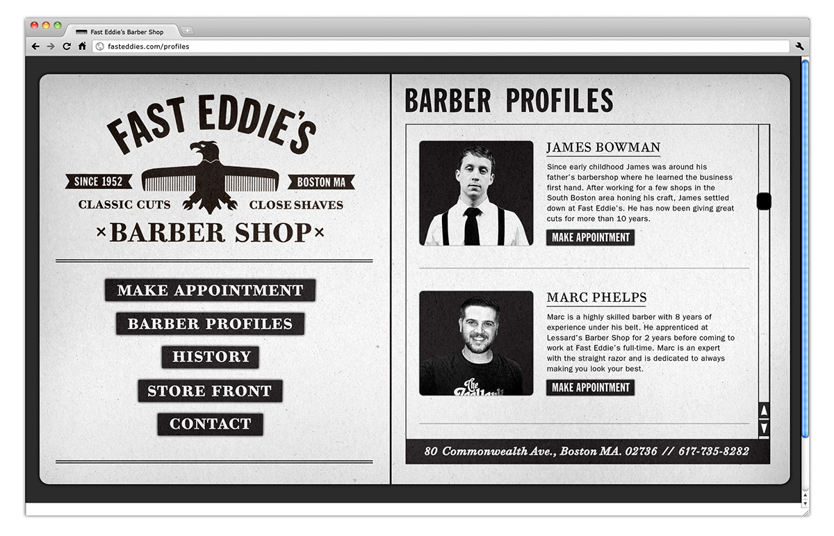 barber shop fast eddies traditional american