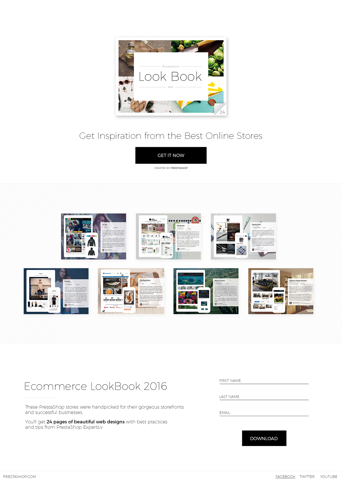Ecommerce Lookbook Website landing page