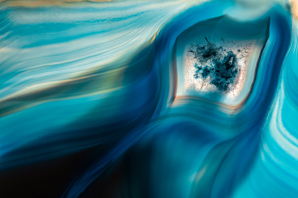 Macro photography of crystals, known as agate