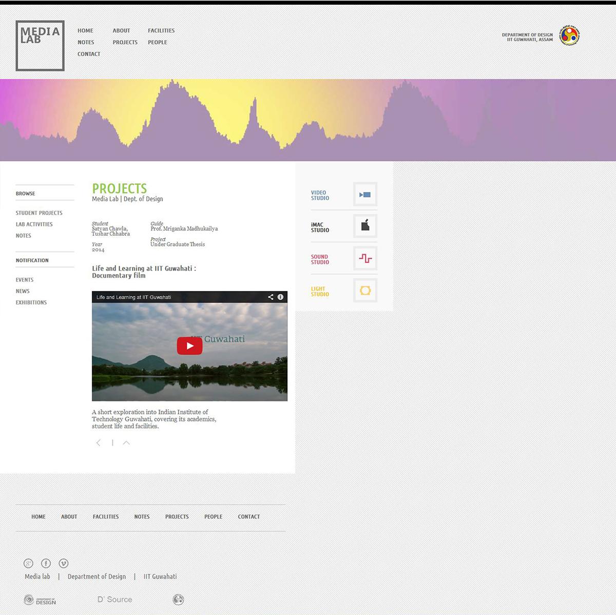 Media Lab Iit Guwahati Website Design On Behance