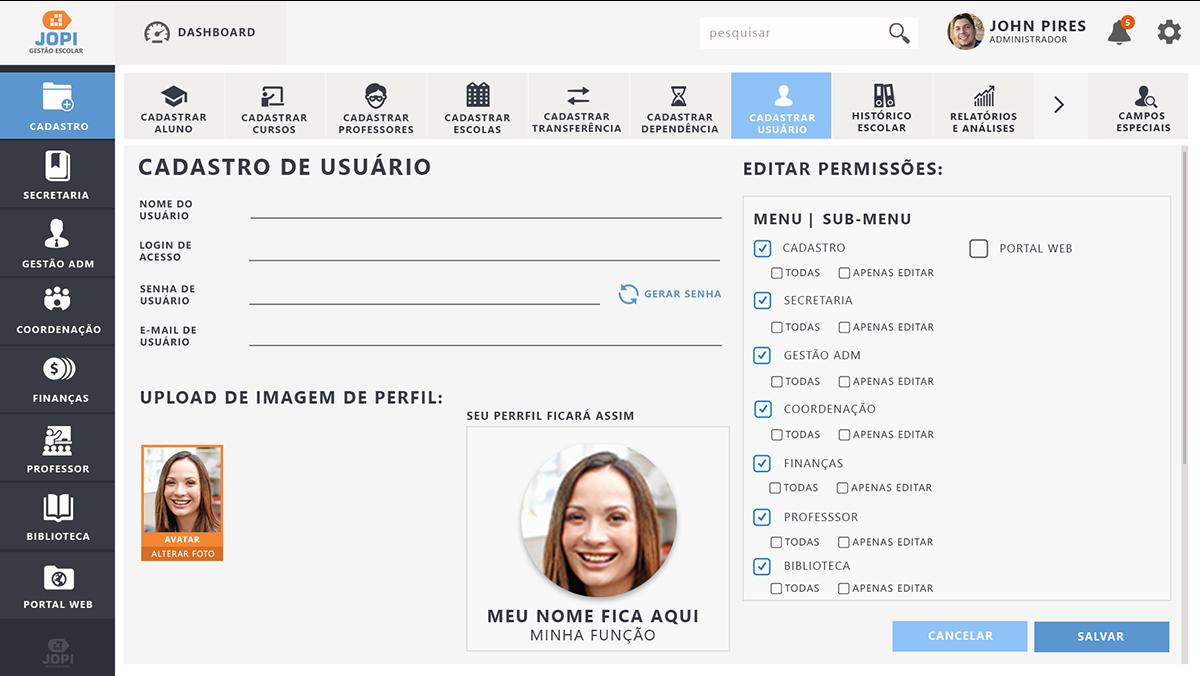 ux UI WIrefrema design Web experiência do usuário Sisitema gestão escola