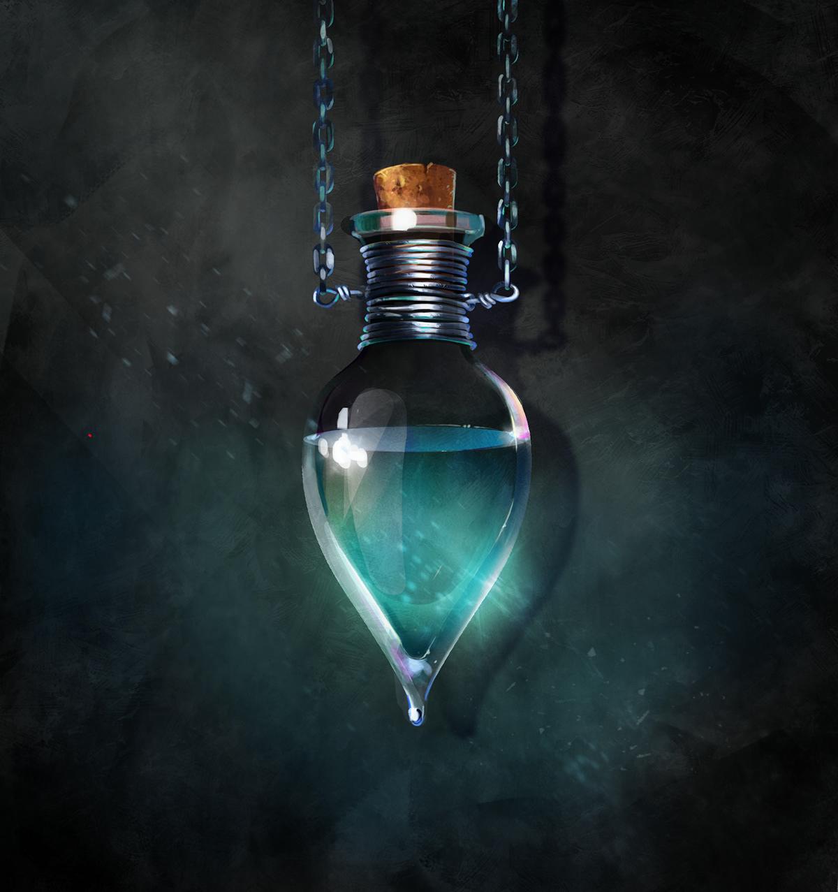 miniatures CG artwork bottle Magic   potion botanique mashrooms