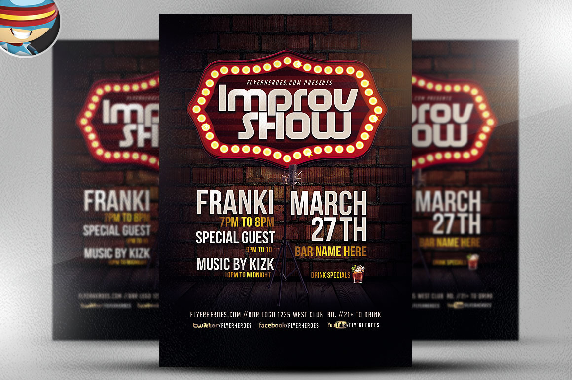 improv show flyer template on behance