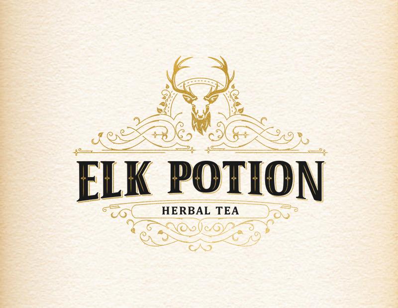 elk deer tea herbs herbal forest tea logo Deer logo garden lettering