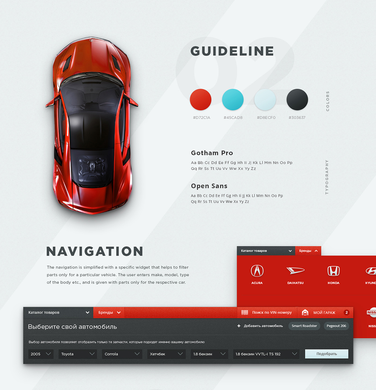 Japan Cars Ui Ux Design For Auto Parts Online Store On Pantone