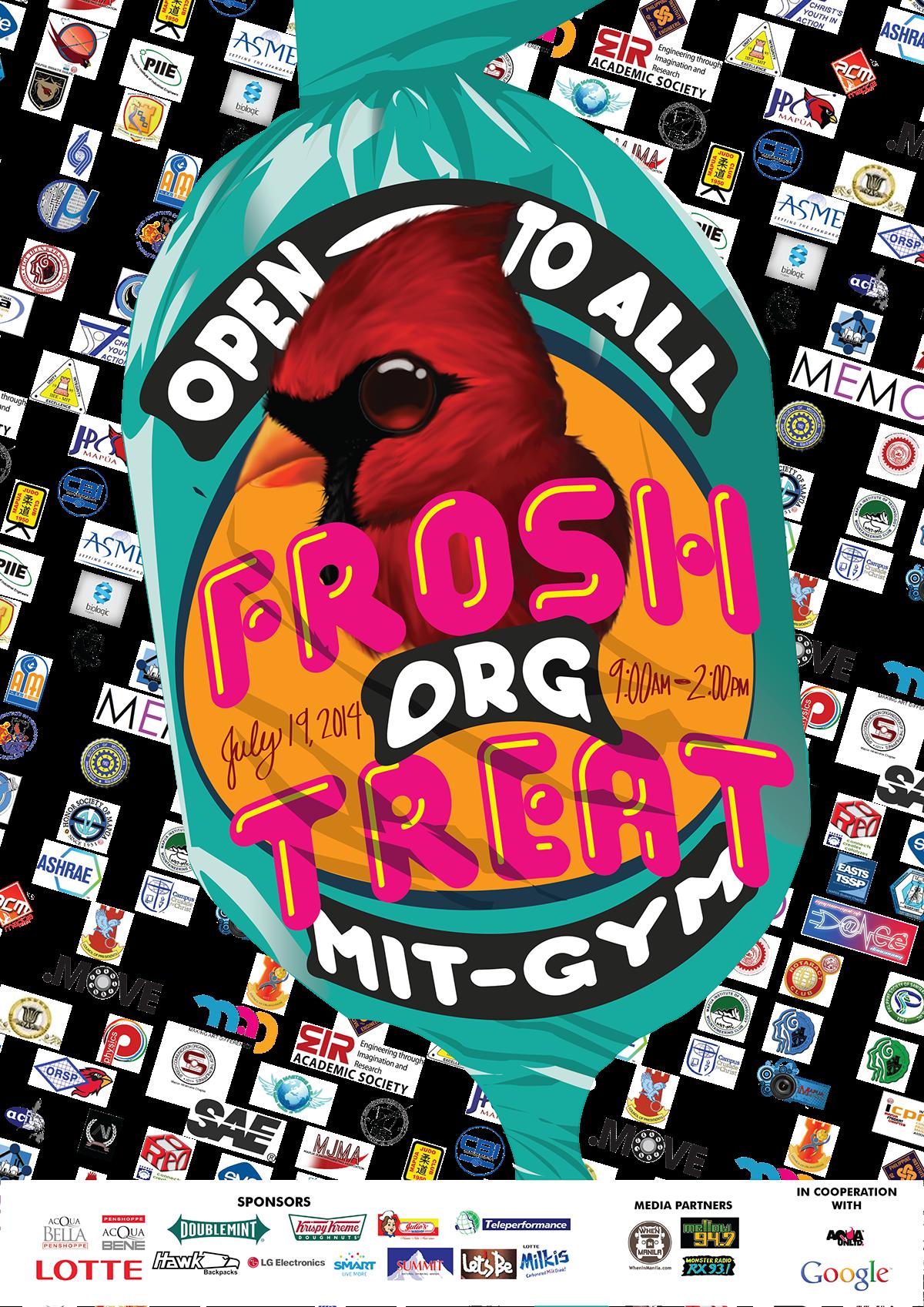 colorful Playful cardinal poster Freshmen Orientation organization
