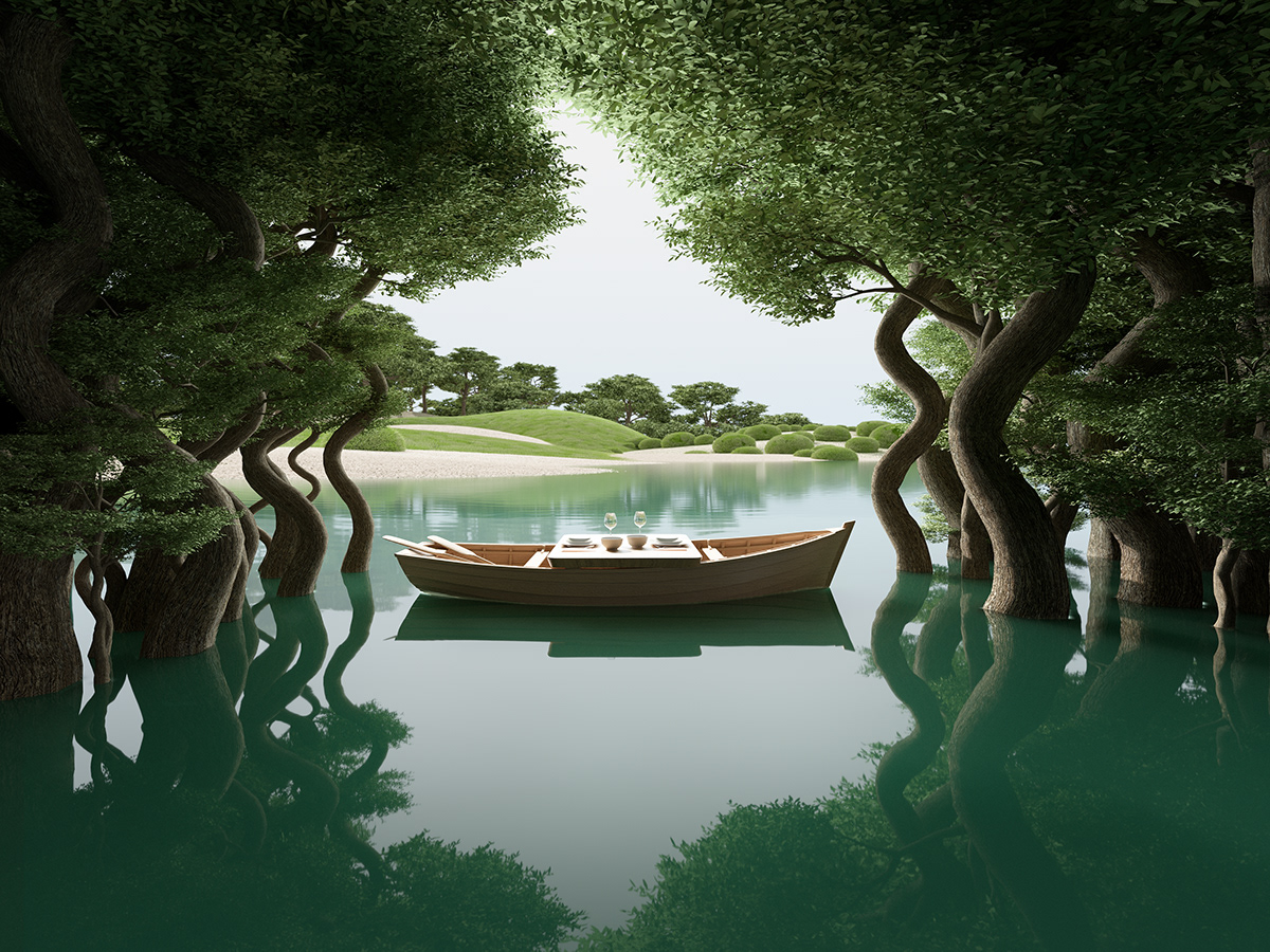 Image may contain: tree, boat and watercraft