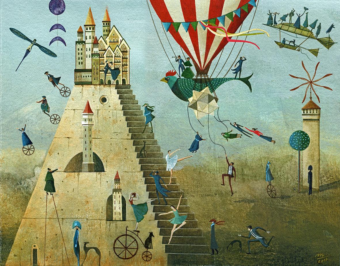 tower ILLUSTRATION  surreal fairytale balloon pyramid storytelling   painting