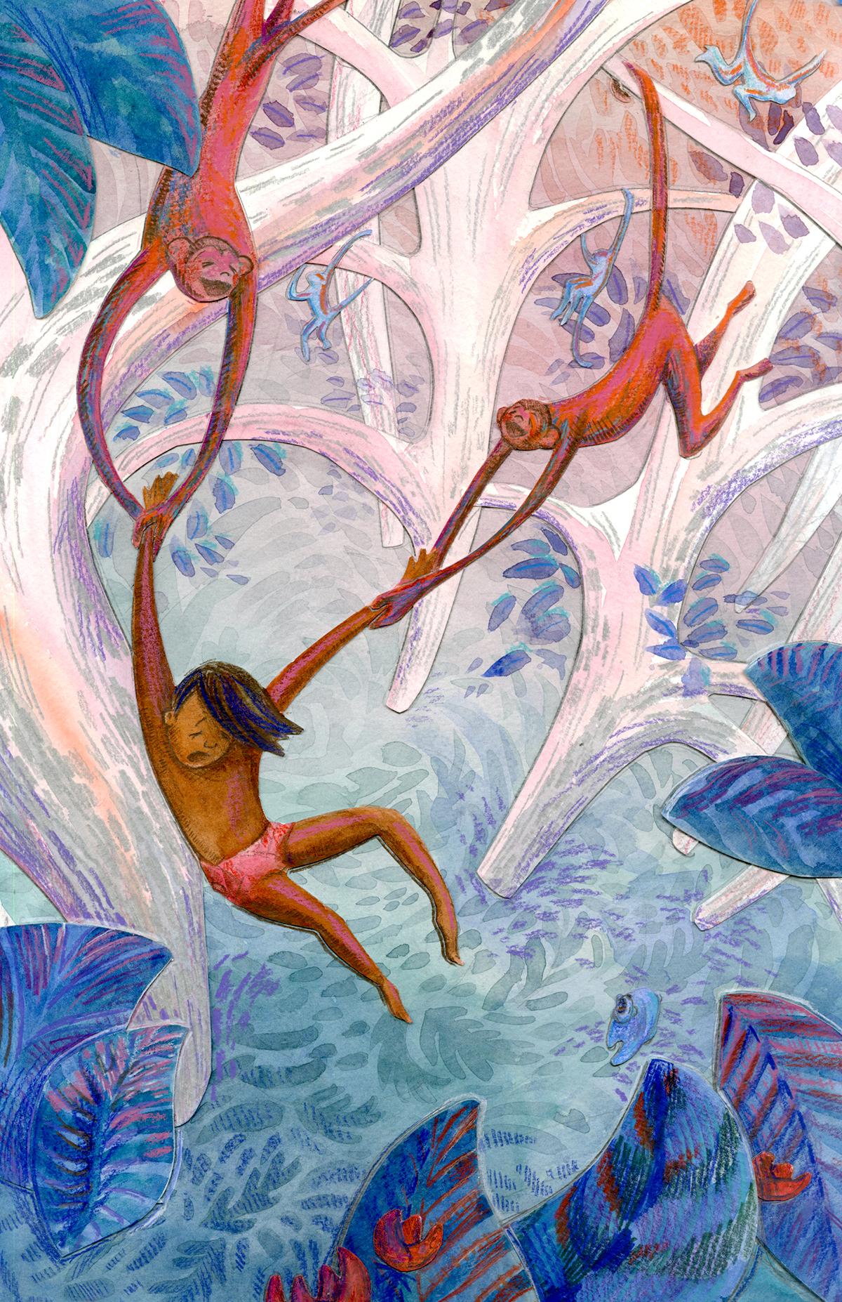 The Jungle Book mowgli watercolor colored pencil children's book monkey jungle