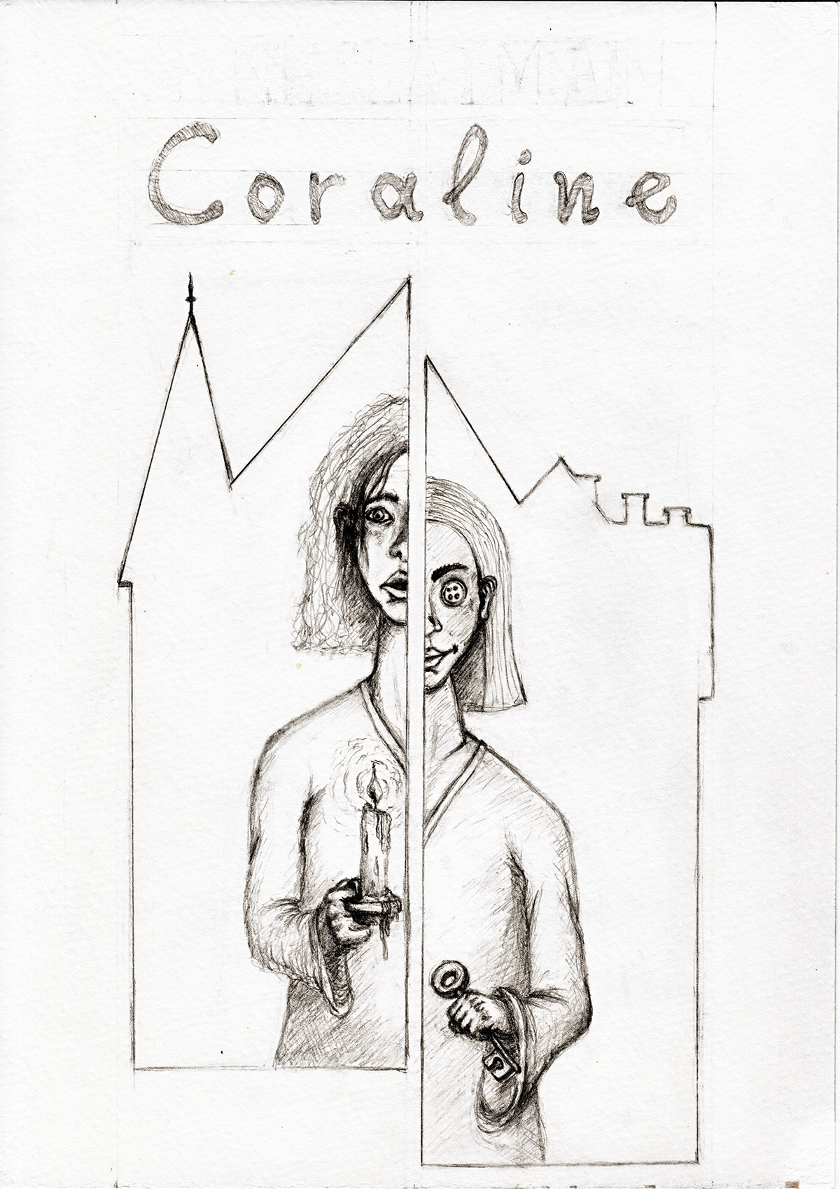Book Cover Drawing Uk : Coraline book cover on behance