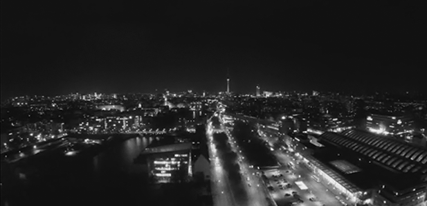 aerial cinematography music video drone footage berlin night