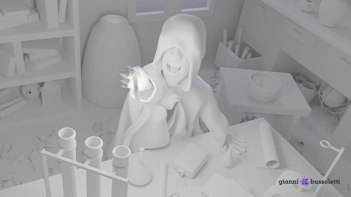 Gianni bussoletti cg design 3d design blender 3d Digital Art  artistic direction cinematography fantasy Alchemist