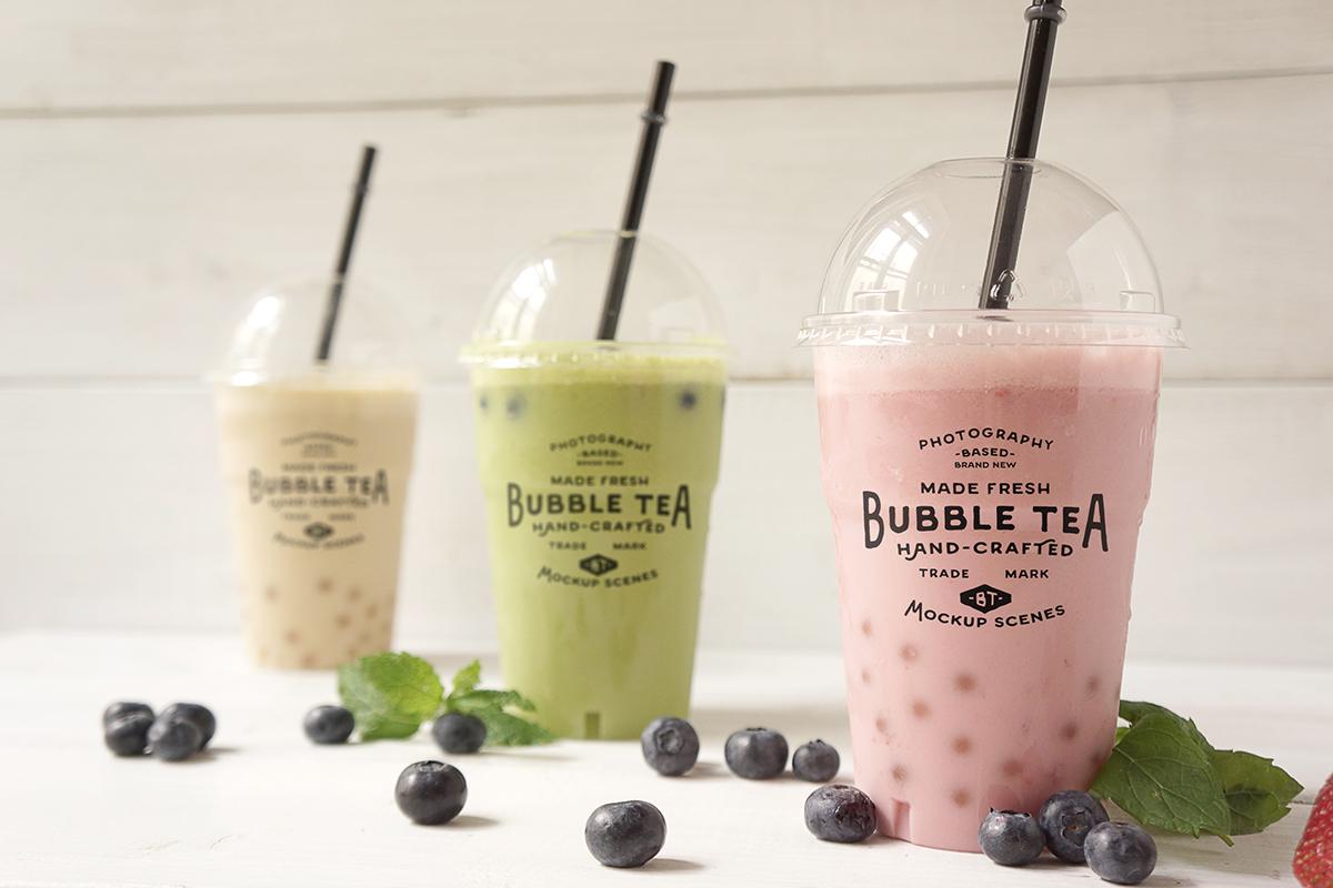 Bubble tea branding psd mockup on behance for Food bar mockup