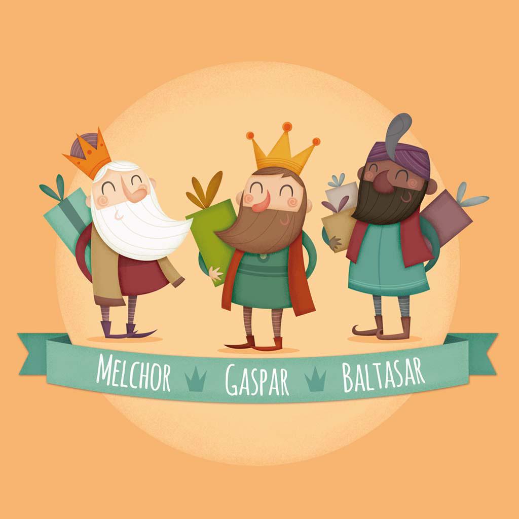 ilustracion christma infantil navidad Reyes magos papa noel