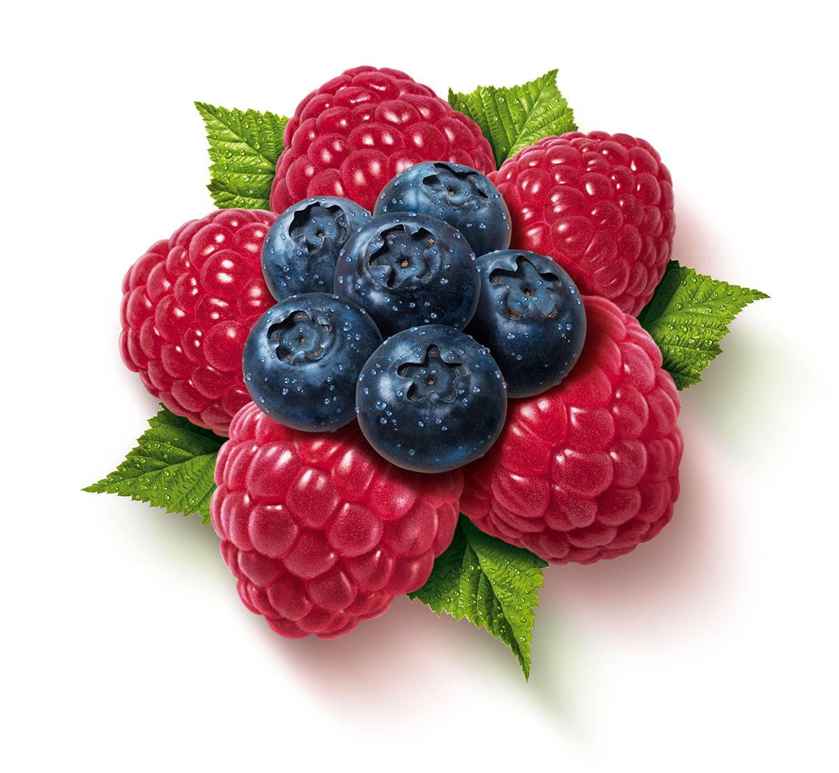 Super realistic fresh juicy raspberries and blueberries in a flower shape for Ekstroms juice drink.