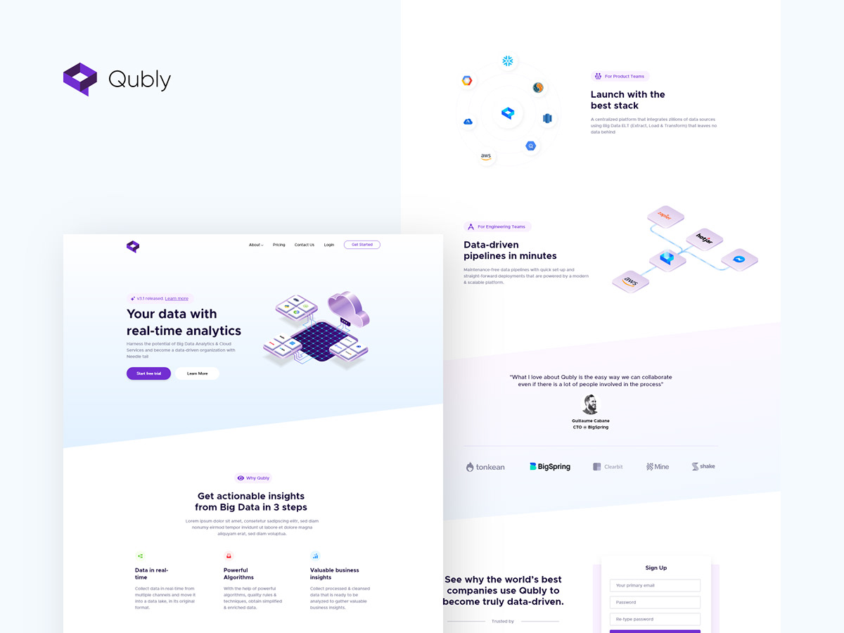 Qubly landing page