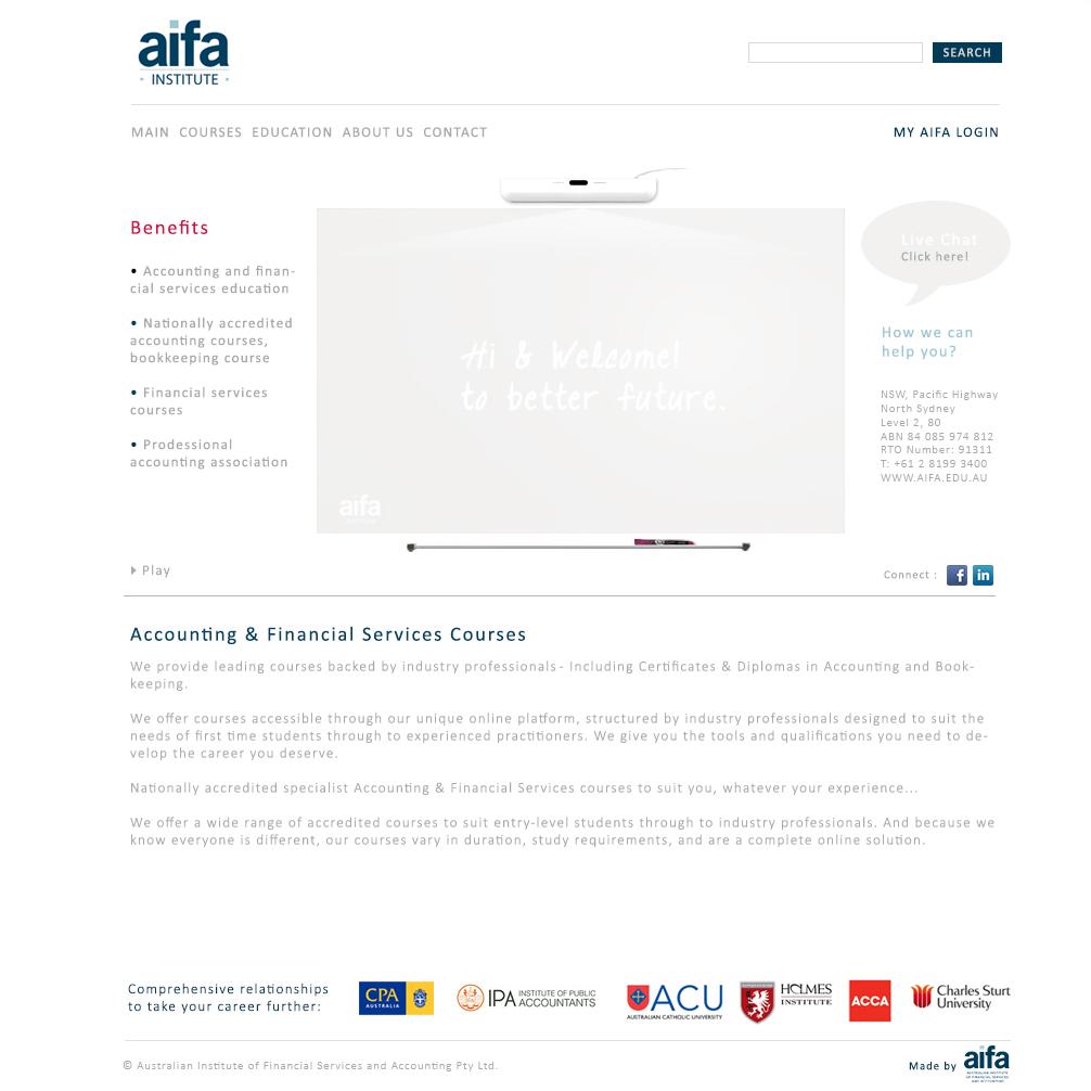 Aifa Institute finance Web design
