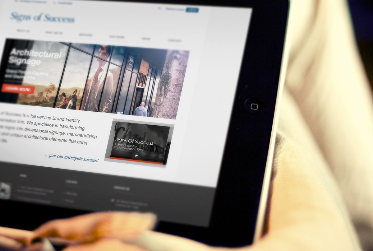 Responsive website design for Signs of Success in perspective