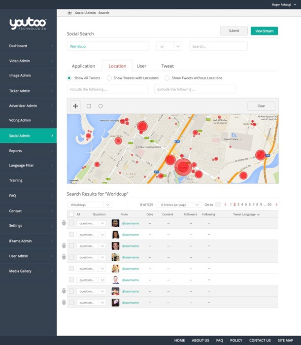 Video and Social CMS Admin UX/UI