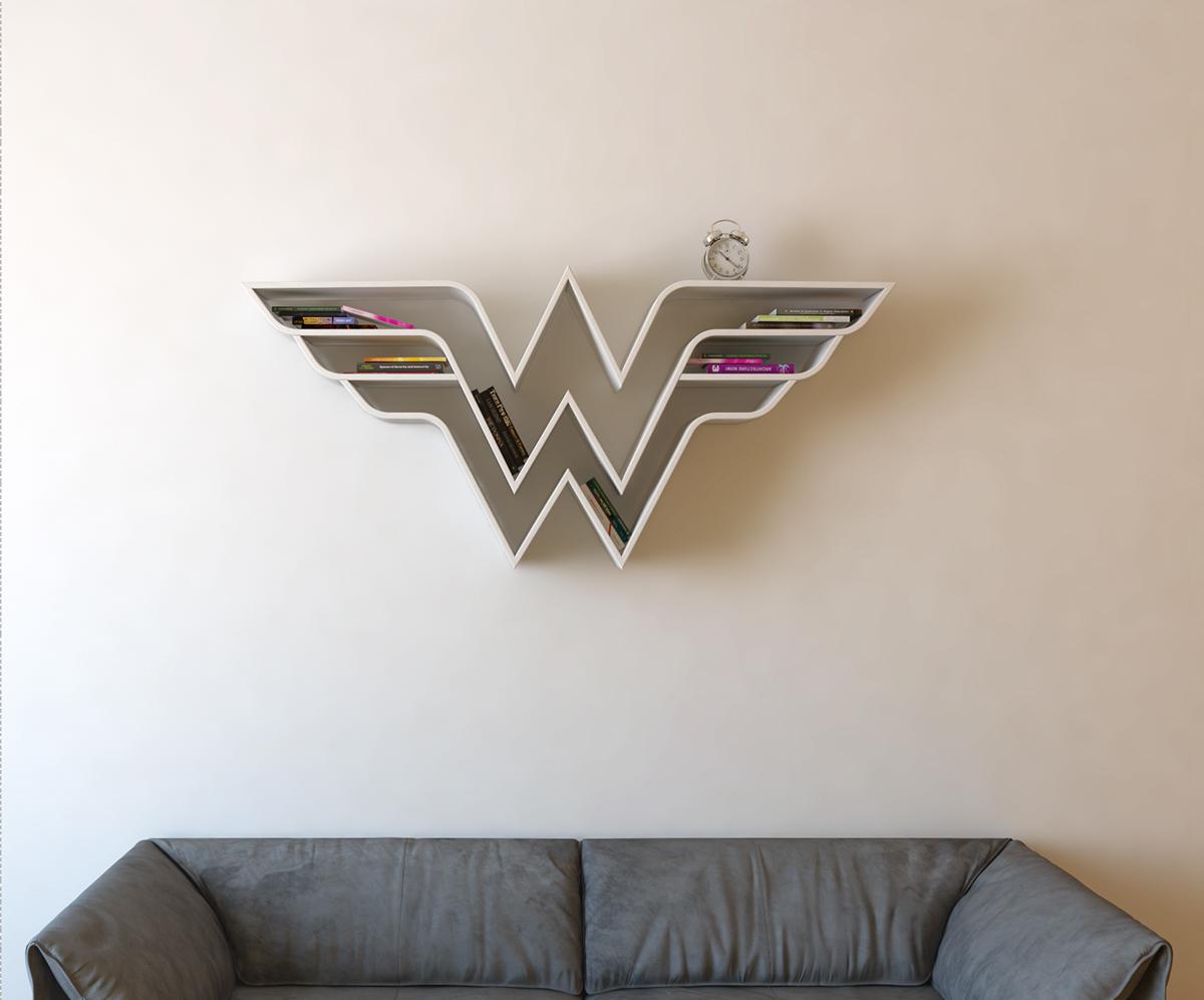 Wonder woman logo shelf interrior design bookshelf on for Colocar papel mural